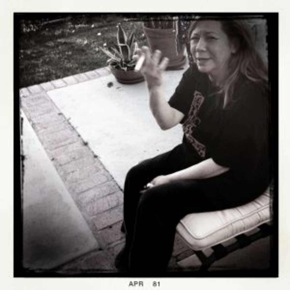 "On her patio where we created ""Detroit Manny."""