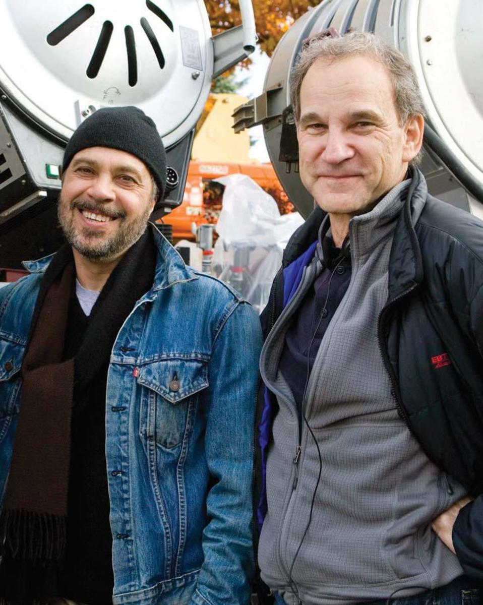 Director and co-writer Edward Zwick (left) on the set with co-writer Marshall Herskovitz