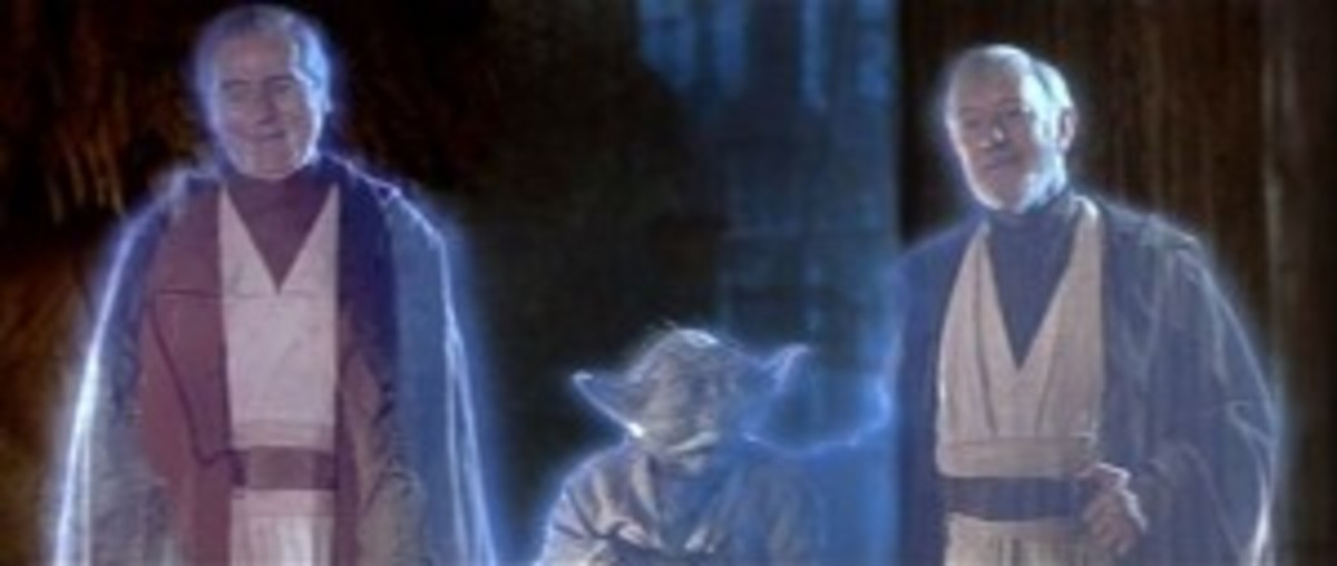 In the afterlife, Luke's two mentors reunite with their long lost student, whom Luke mentors into changing sides in Star Wars: Return of the Jedi.