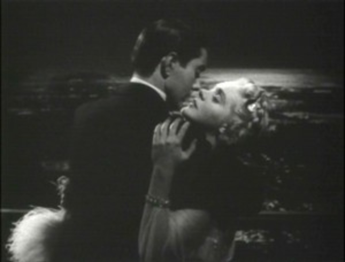 Tyrone Power passionately, lovingly, embracing Alice Faye on a balcony overlooking moonlit waters paints a vivid romanic image in the 1938 film Alexander's Ragtime Band.