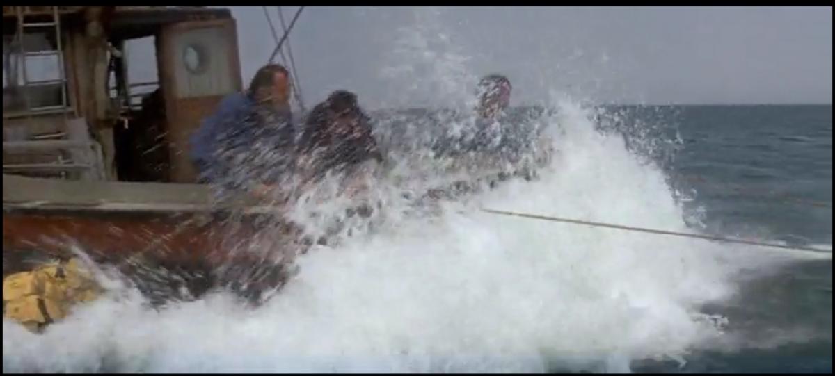 Powerful twist -- shark pulls the boat.