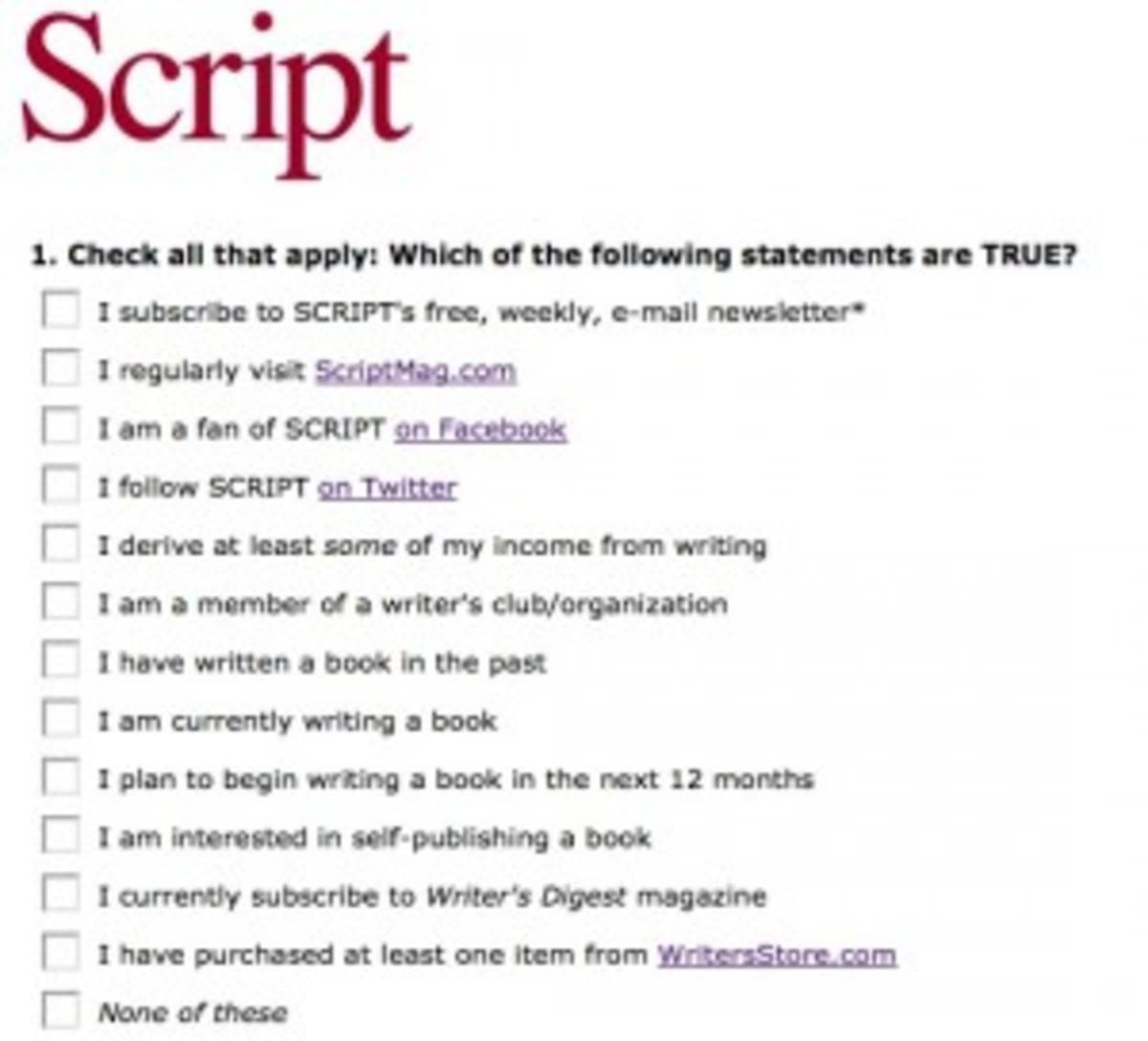 Script Survey