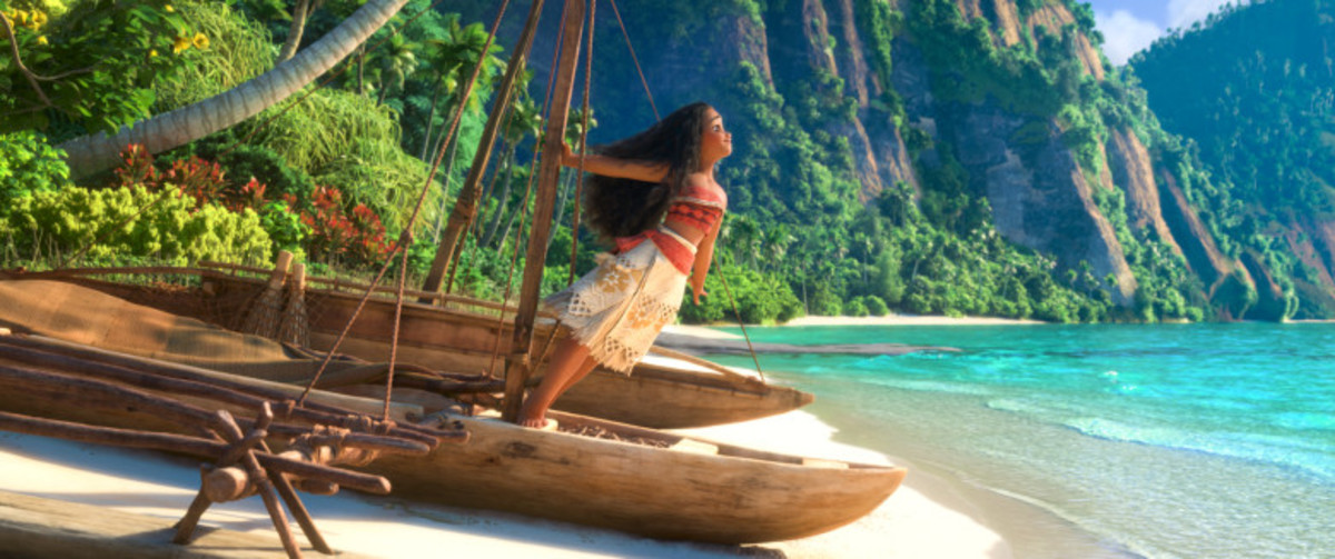 MOANA - (Pictured) Moana on canoe ©2016 Disney. All Rights Reserved.