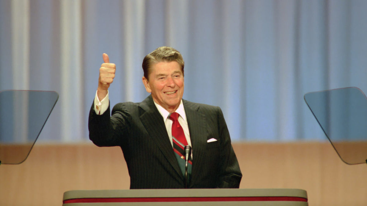 Ronald Reagan addresses the 1988 Republican National Convention. Film still from THE REAGAN SHOW. Photo credit: Ronald Reagan Presidential Library.