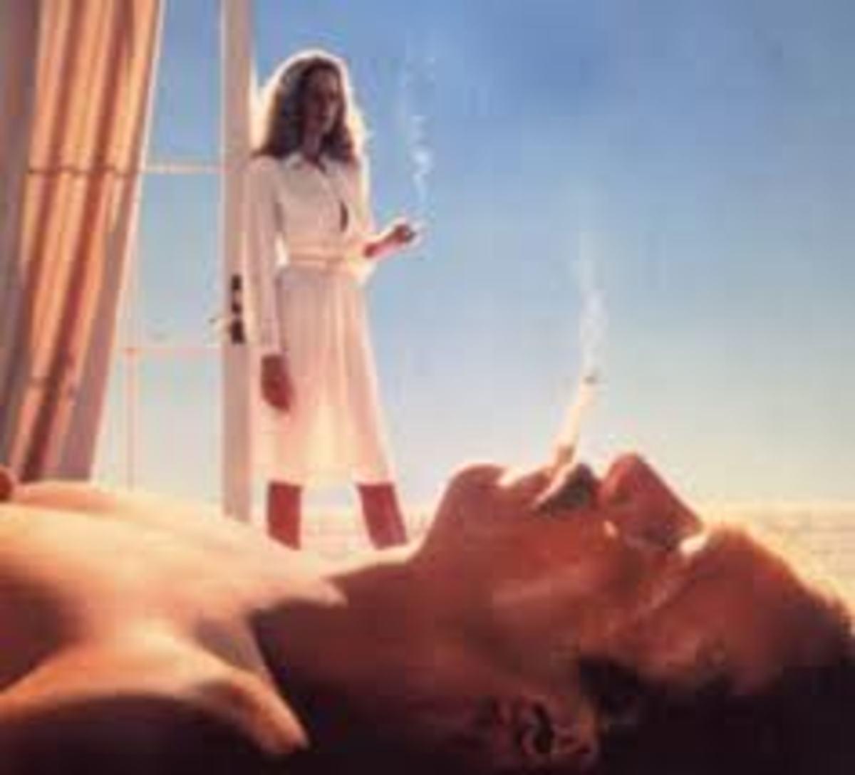 Kathleen Turner and William Hurt's mustache in BODY HEAT.