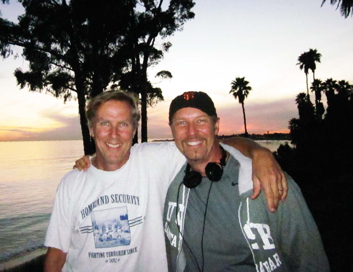 Rick Halsey and Iliff taking in a rose ranch sunset