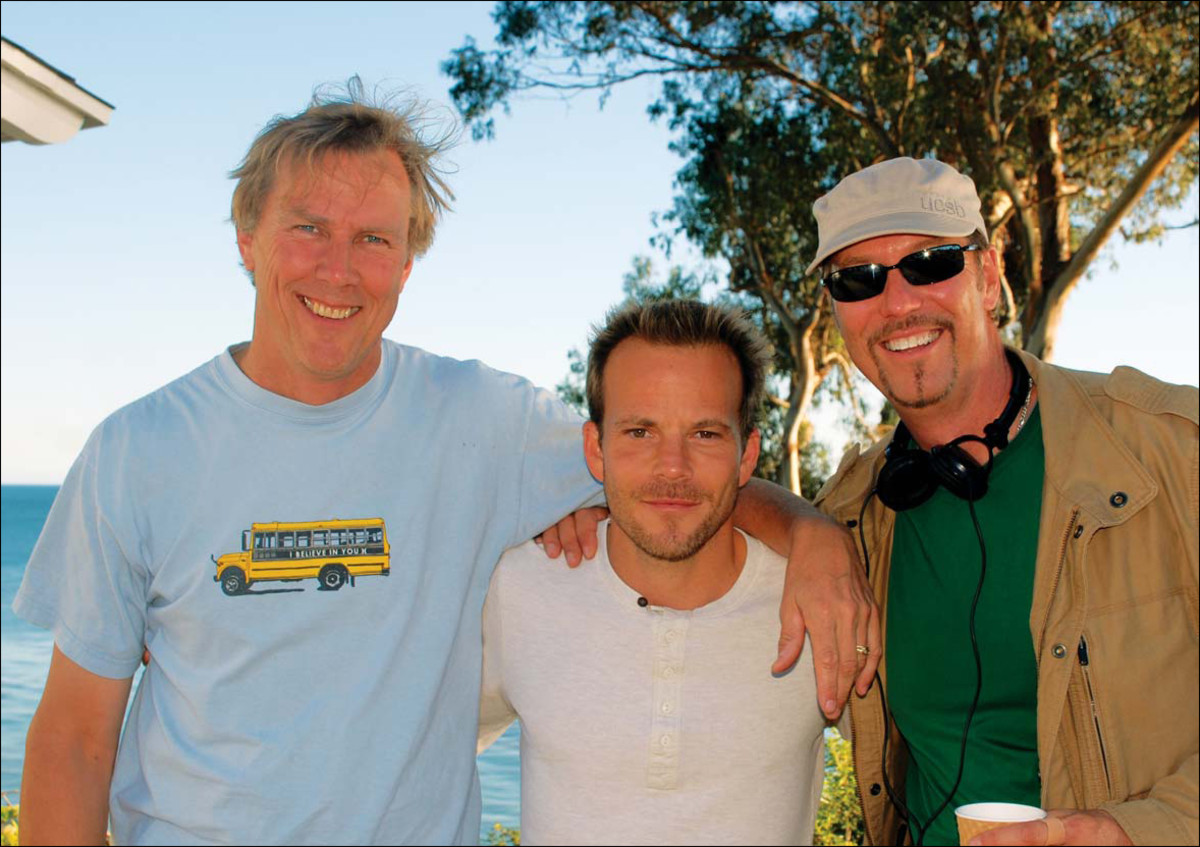 Halsey, Stephen Dorff, and Iliff outside the beach cottage