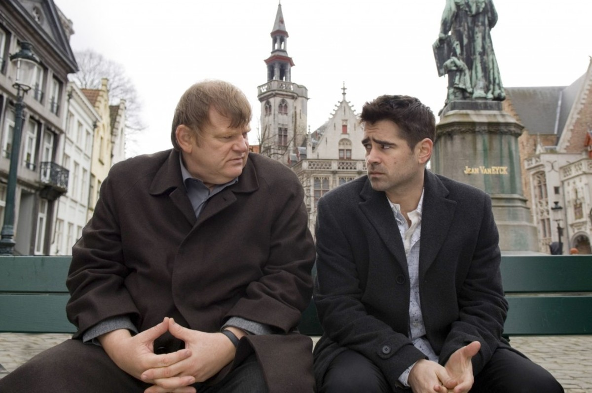 Ray (right, played by Colin Farrell) has little to do except hang around Bruges. Deadlines and dramatic irony propel the action, rather than a character with a strong drive.