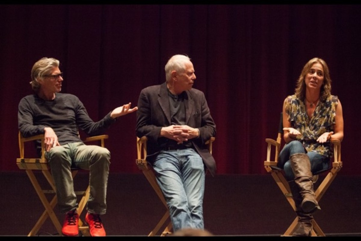 Speaking at UCLA with Lew Hunter when they were presented with the Hunter Zakins Screenwriting Award in 2014.