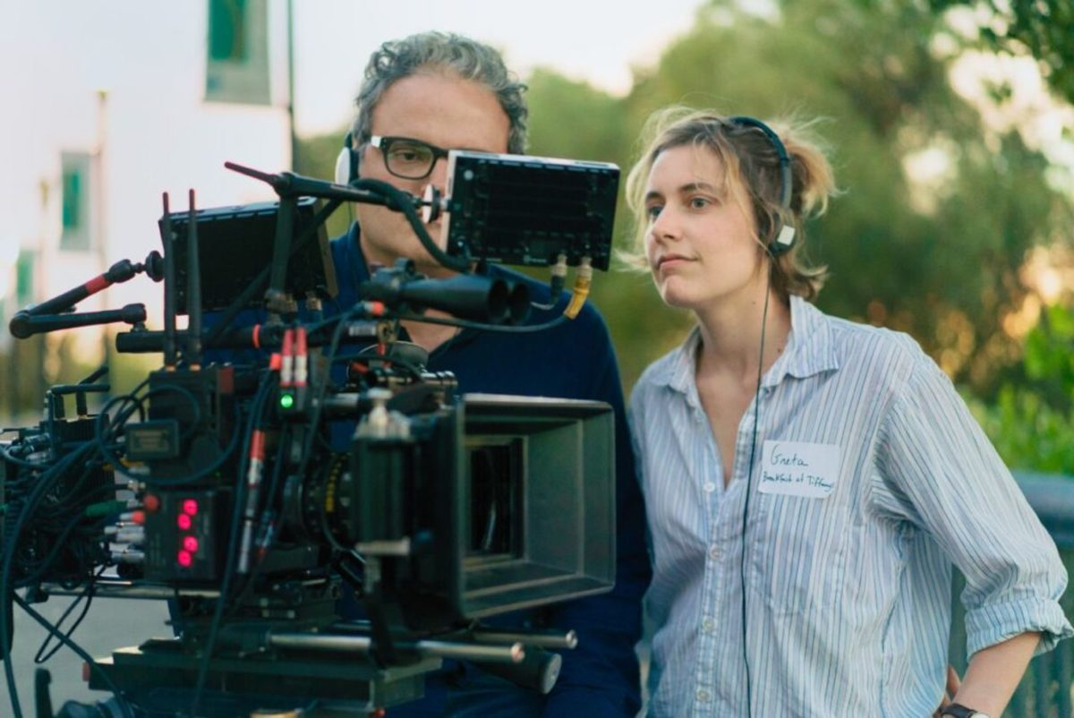 Sam Levy and Greta Gerwig on set of Lady Bird. Photo credit: Merie Wallace, courtesy of A24