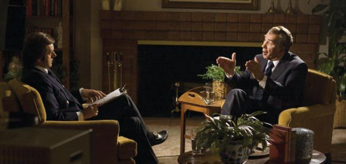 Michael Sheen stars as David Frost and Frank Langella as Richard Nixon in Frost/Nixon