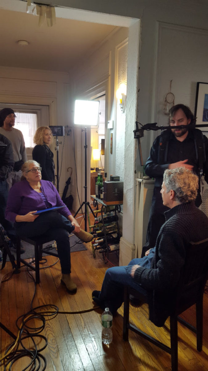 "Barbara Multer-Wellin interviews her subject, Ronald Braunstein, for the doc ""Orchestrating Change"""