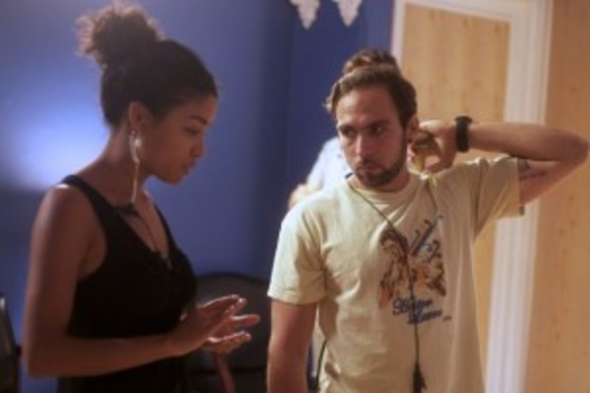 "Producer Violetta Ekpe on the set of ""Deal Travis In"" with 1st AD Alejandro Ramia."