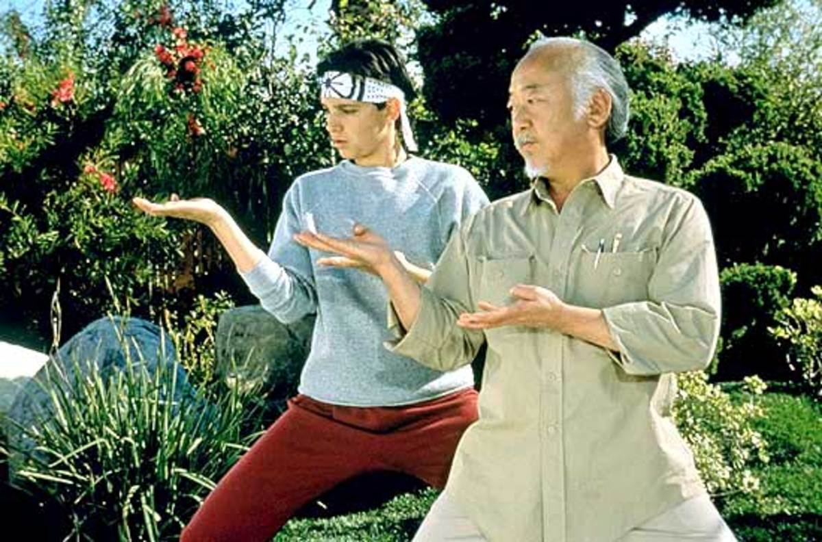 Mr. Miyagi teaches a poor, bullied high schooler to live up to the title of The Karate Kid.