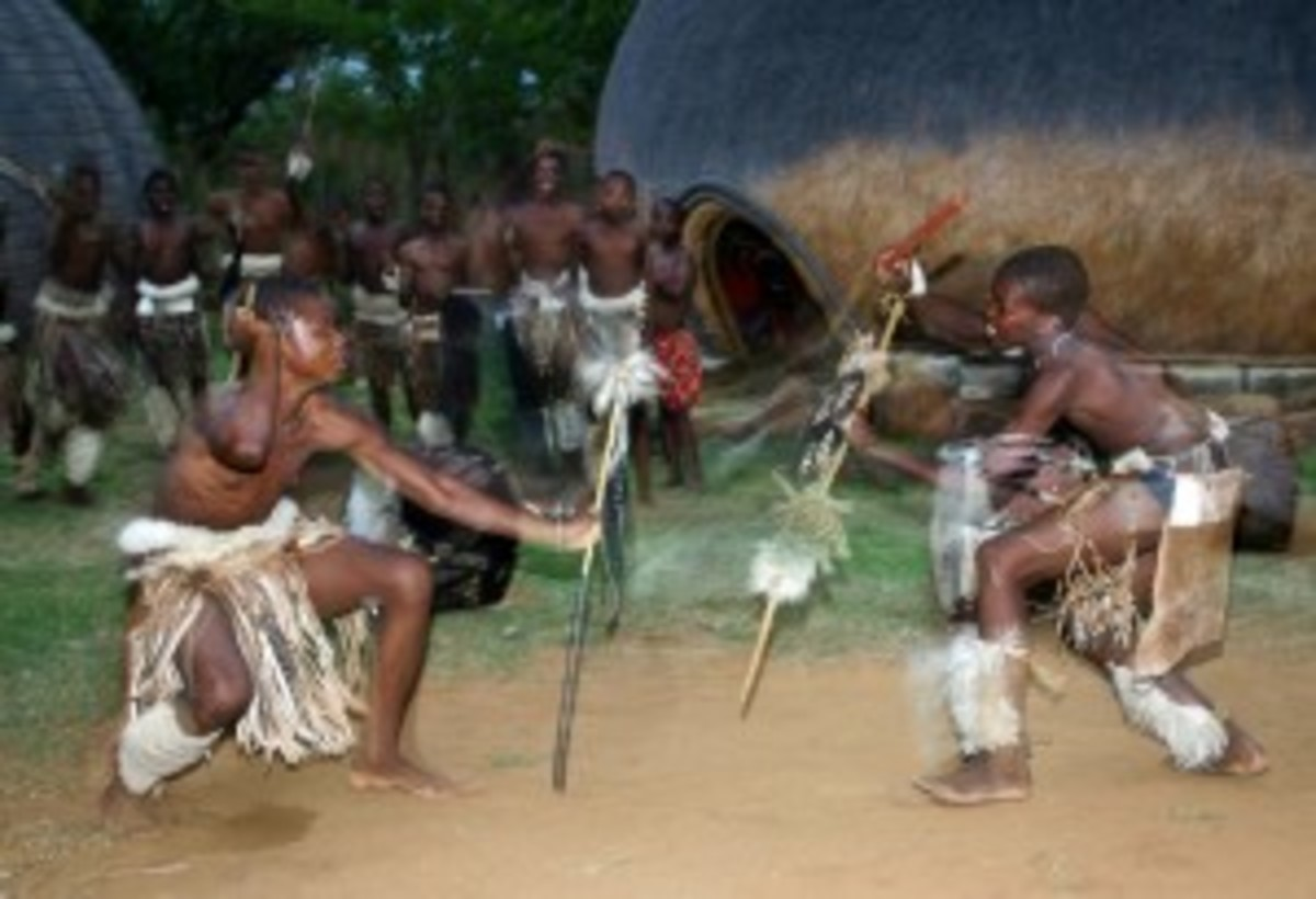Zulu boys stick fight