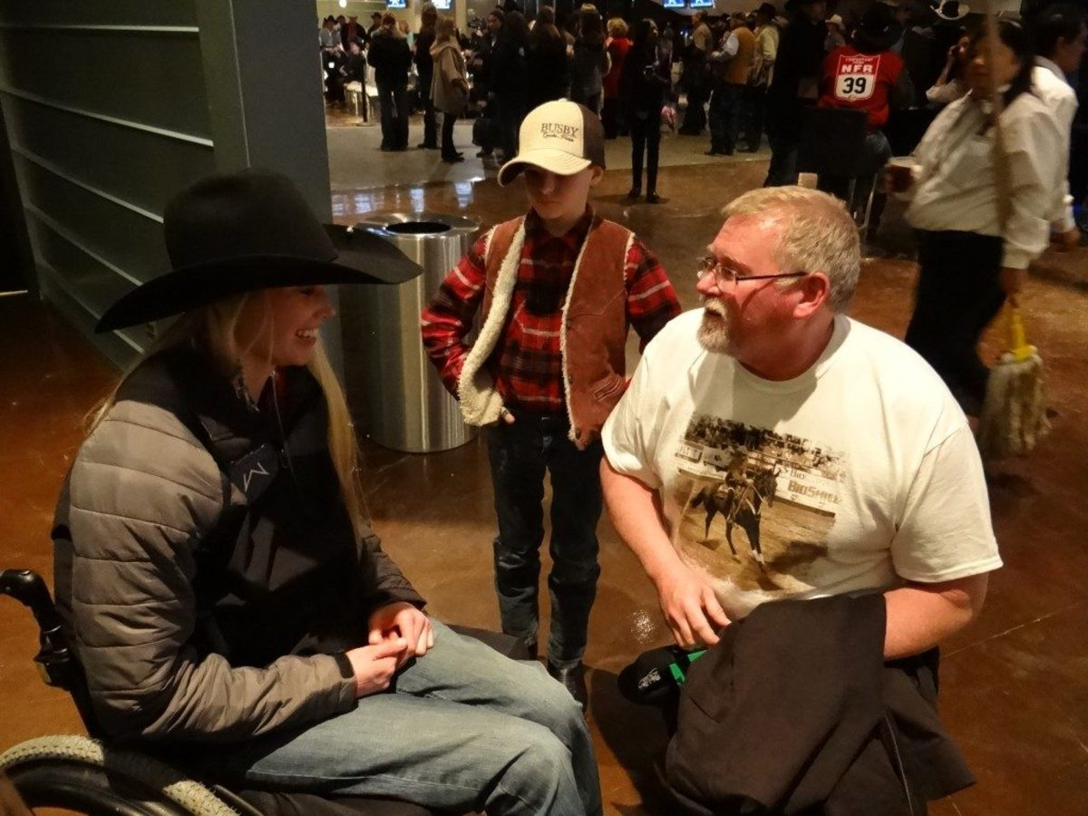 Amberley Snyder and screenwriter Dan Goforth at The American rodeo in 2015.
