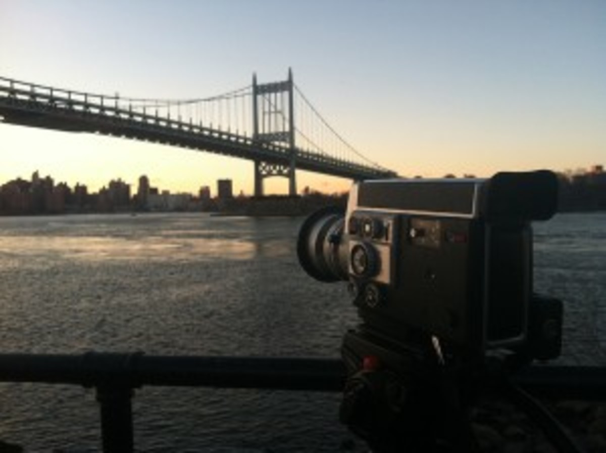 The Canon AutoZoom 814, rolling on a cityscape for Wavelength, the film.