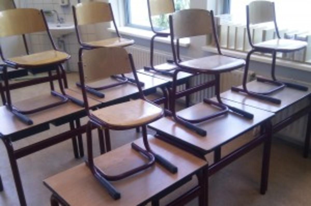 Empty classroom in summertime