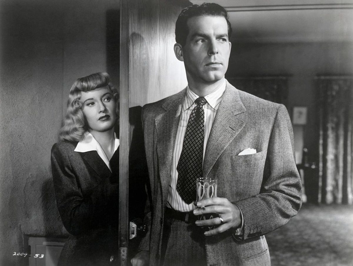 "Barbara Stanwyck with Fred McMurray in a scene from the 1944 Billy Wilder production of ""Double Indemnity."" Photo by George Rinhart/Corbis"