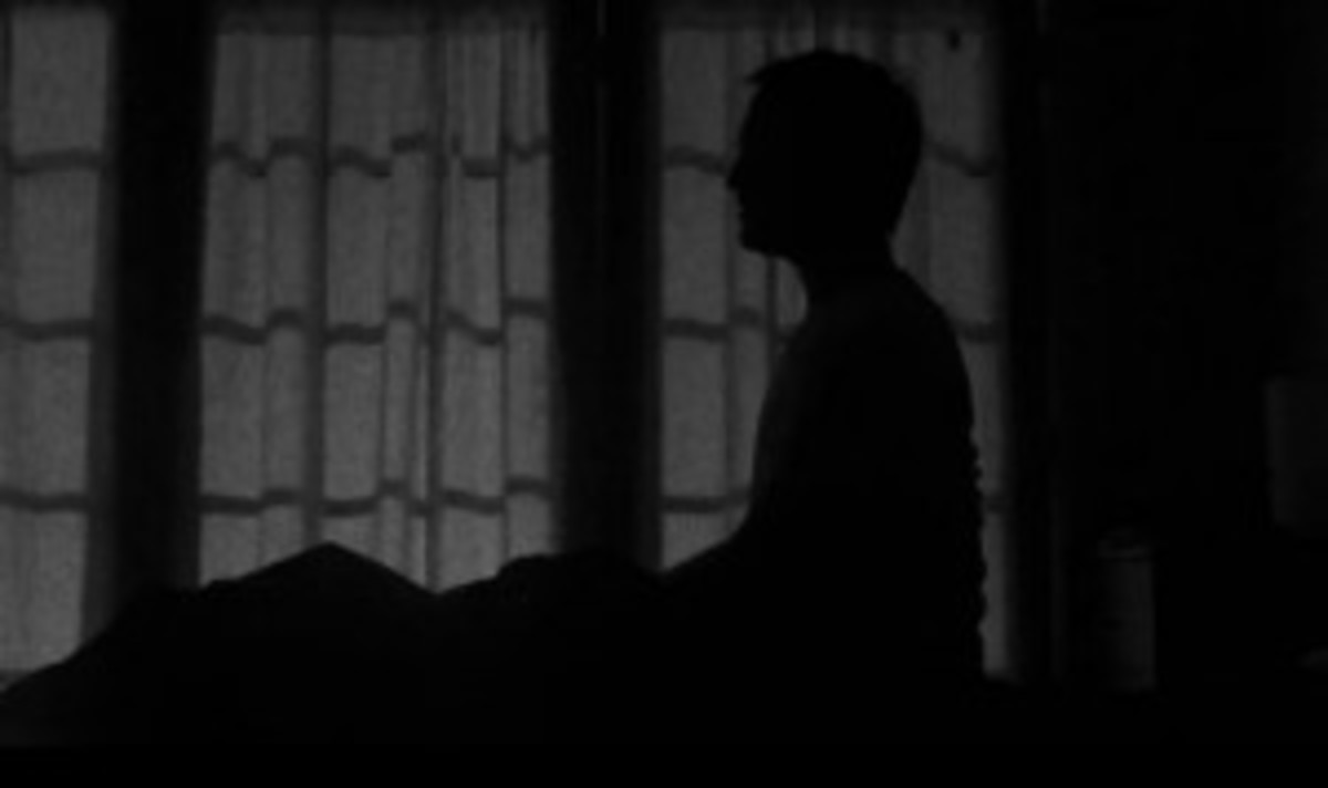Frame grab from Wavelength: Adam Levinthal rises into dramatic silhouette.