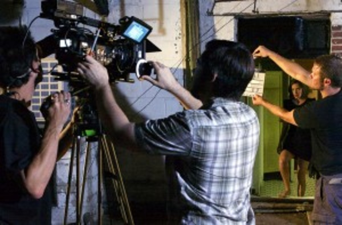 "Actor Christina Brucato and camera crew in a behind-the-scenes still from ""Vivienne Again"""