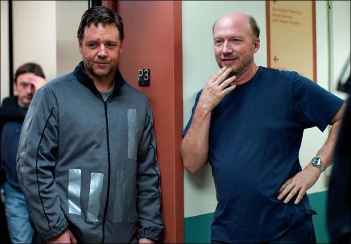 Above and Page 37: Crowe with writer-director Paul Haggis on the set of The Next Three Days