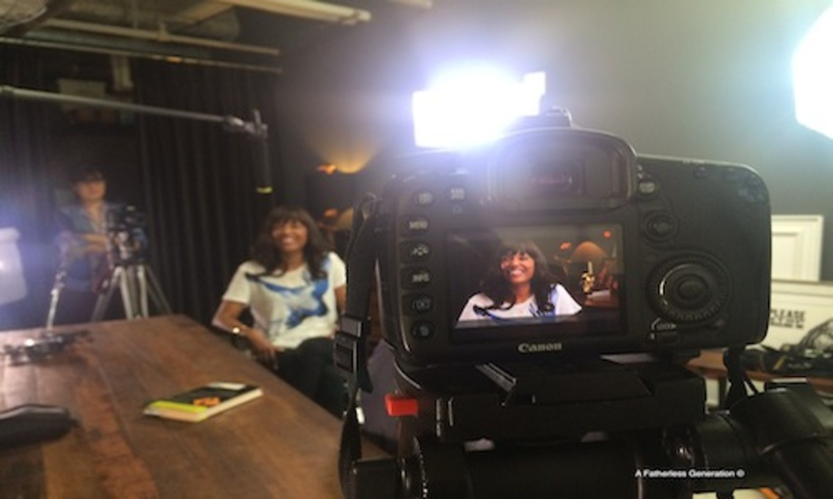 On set of A Fatherless Generation interviewing actress and comedian Aisha Tyler