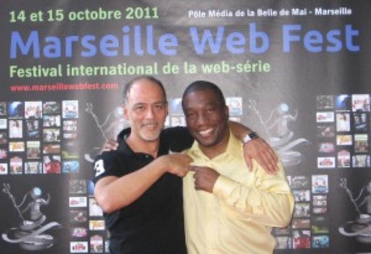 Michael Ajakwe at LAWEBFEST sister festival Marseille Webfest with founder Jean Michel Albert