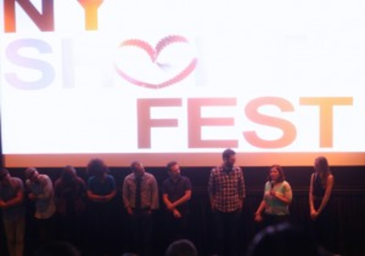 "Rocking the mic at the Q&A after my ""Deal Travis In"" premiere at NY Shorts Fest."