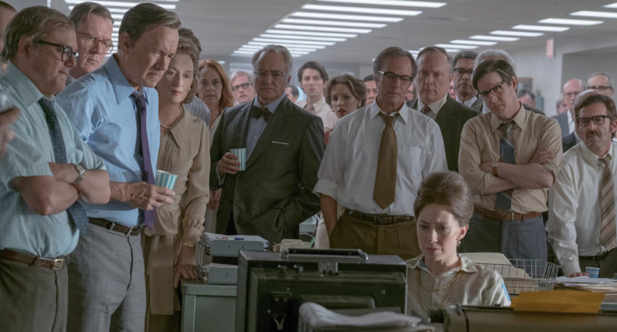 A tense moment in the newsroom in The Post. In choosing to portray many characters and many events, the screenwriters left comparatively little time for the exploration of their main character. Amblin Entertainment.