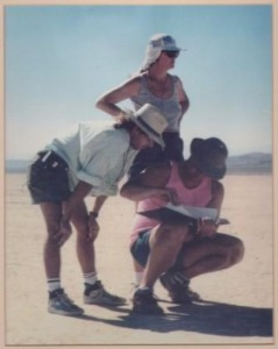 Pamela and Monty on one of the California Dry Lake Beds so often used for commercials.