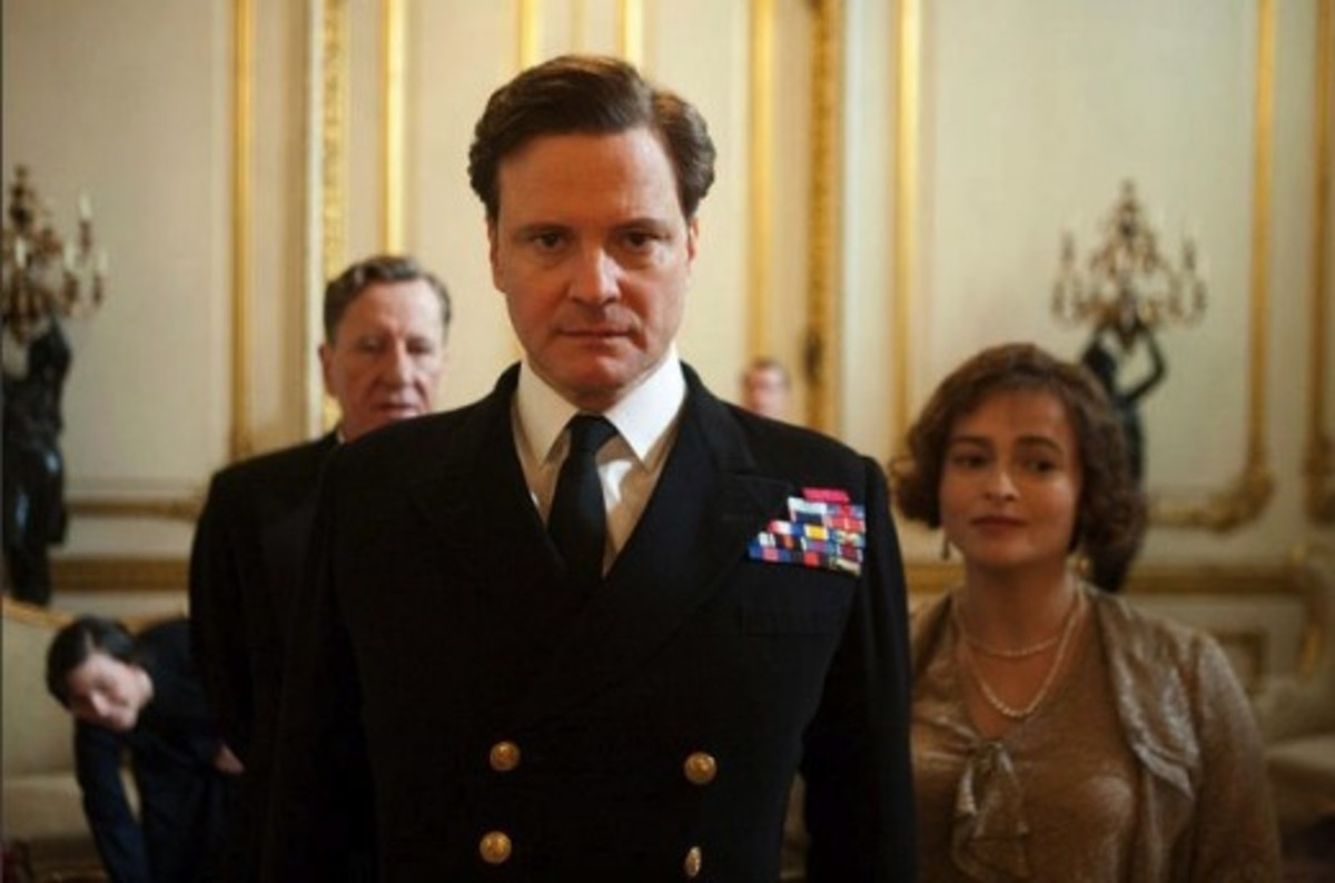 Colin Firth portrays King George VI with co-stars Geoffrey Rush and Helena Bonham Carter in The King's Speech.