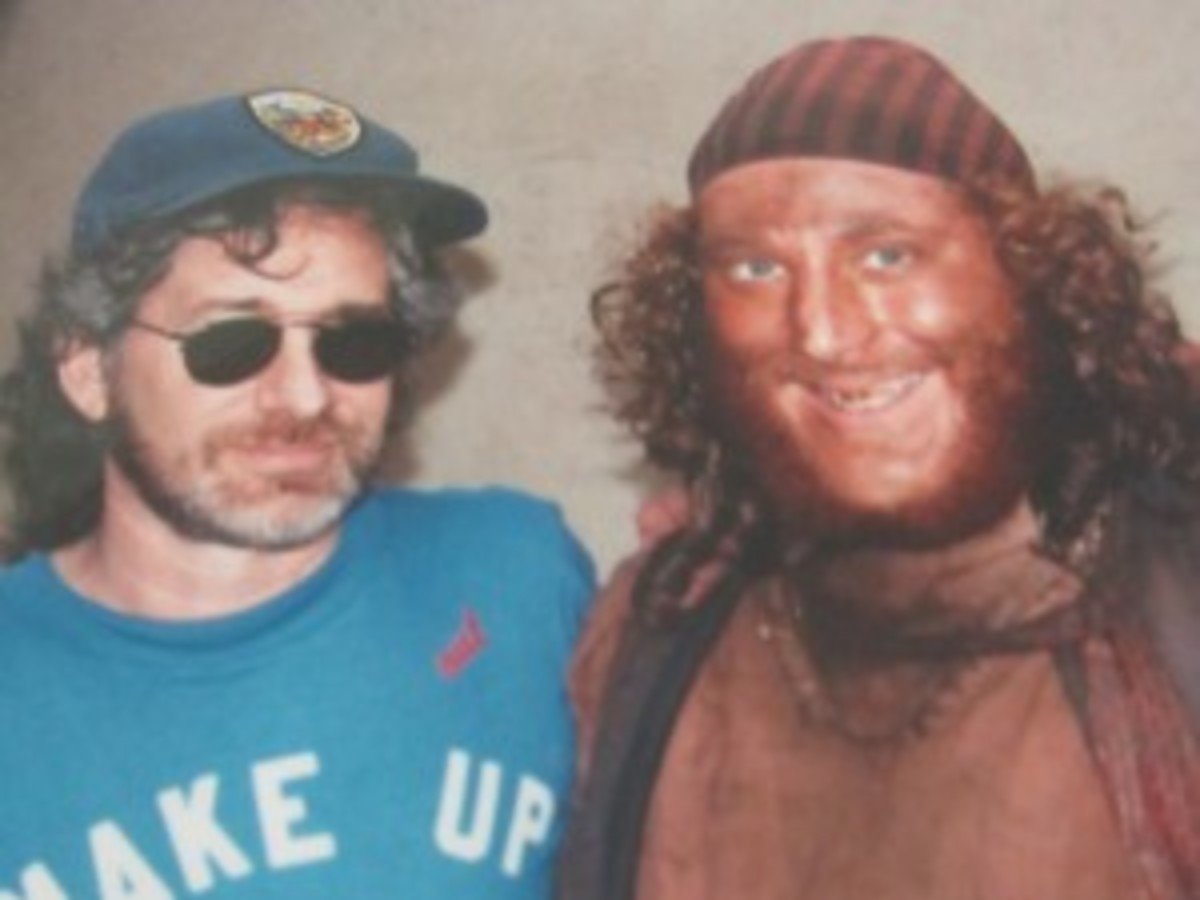 Michael had been able to grow a beard in high school and got his first summer job in Hollywood working over fifty days on the set on the set of Stephen Spielberg's film Hook as a pirate. On the very last day of principal photography of August 8th, coincidentally Dustin Hoffman's birthday, he was able to grab a quick photo with his iconic director. On that day, Dustin invited Michael into his trailer to celebrate and about five of us all had a drink together with the three mermaids, fresh from the water tank. It was a film industry magical summer.