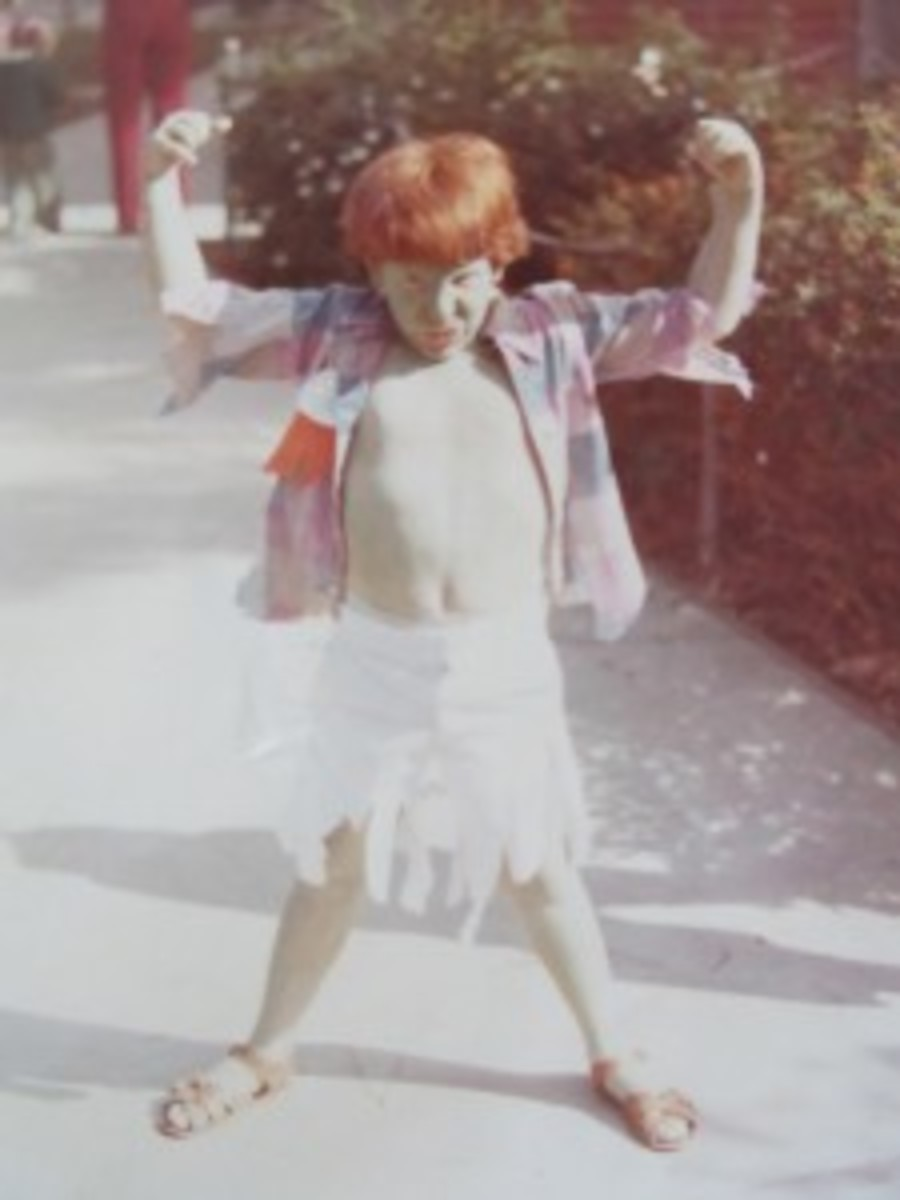 "Yes, Michael painted himself green to be The Incredible Hulk, winning Most Original Costume for Halloween in his elementary school. Now, we'd call this Cosplay. ""It's my red hair on this that still kills me."""