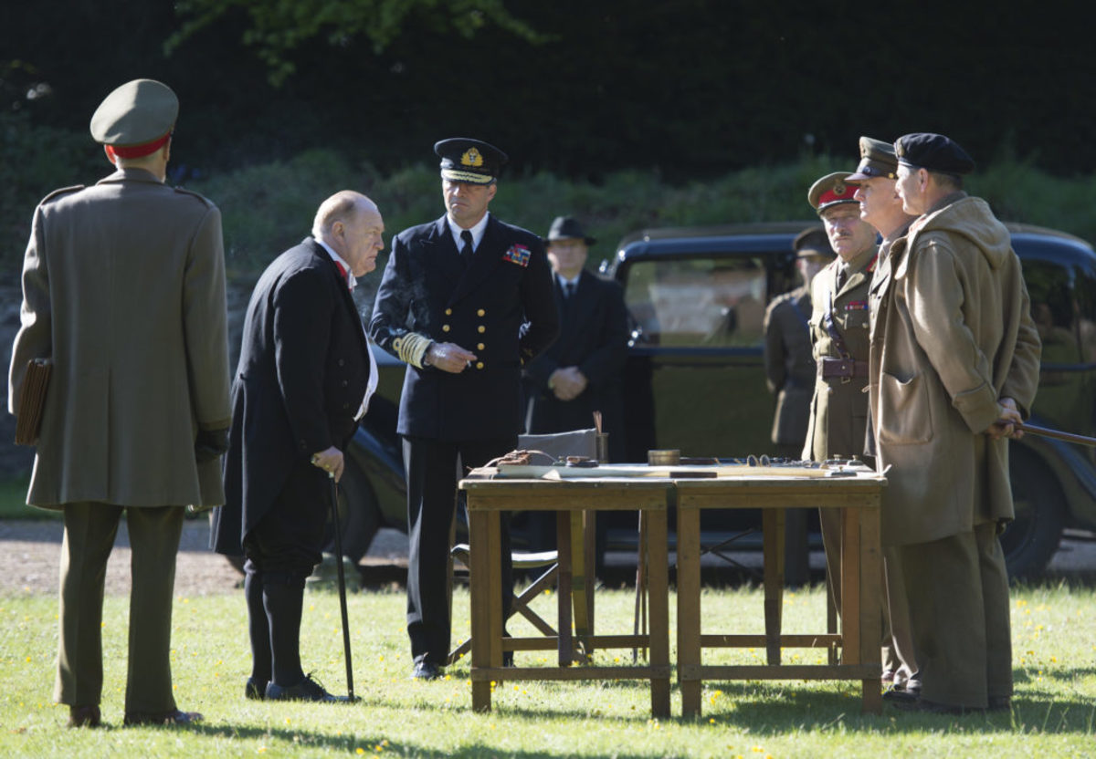 Churchill meets with Eisenhower, Brooke and Montgomery. Photo credit Graeme Hunter Pictures. © Salon Churchill Ltd