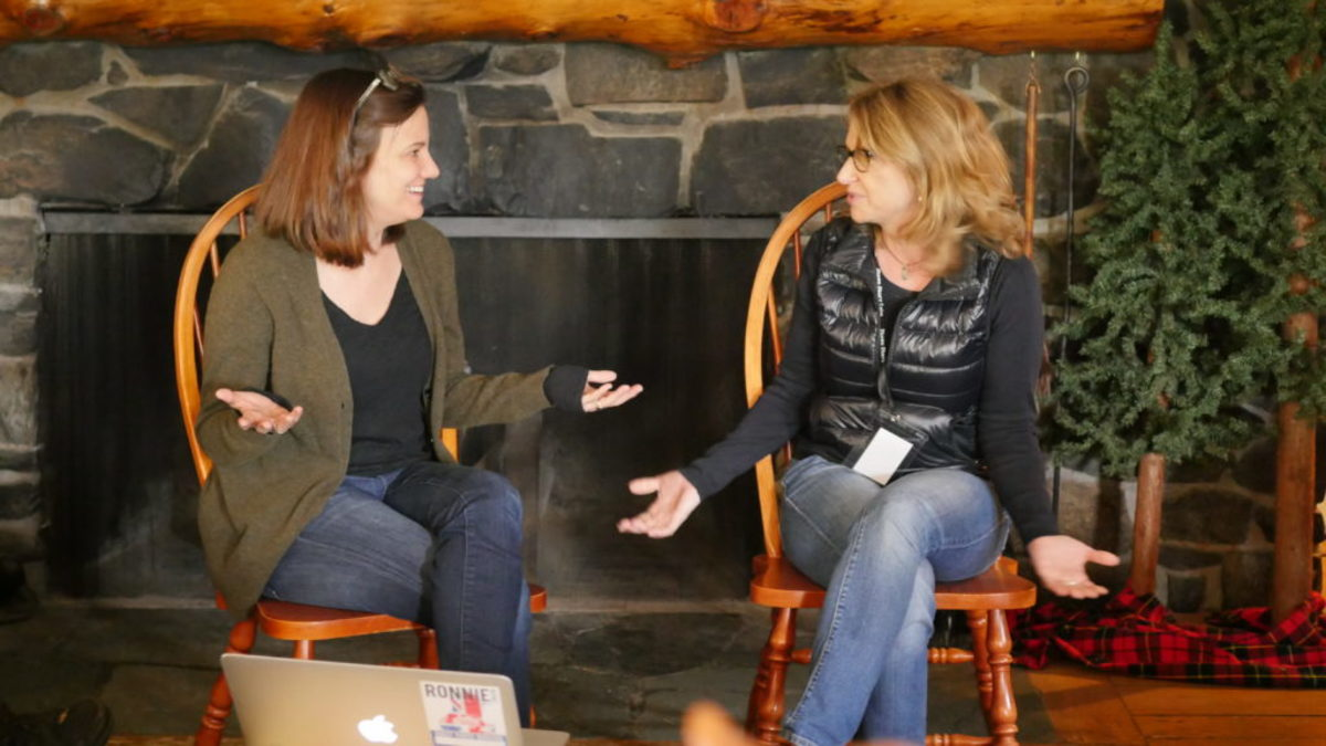 Stowe Story Labs Mentors Amy Hobby and Anne Hubble talk about talking about story at May 2016 Writers' Retreat