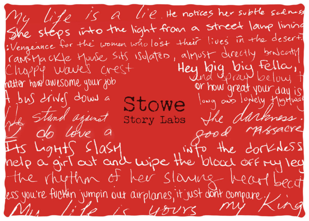 This postcard was designed by alum Jen West using words written by other lab participants.