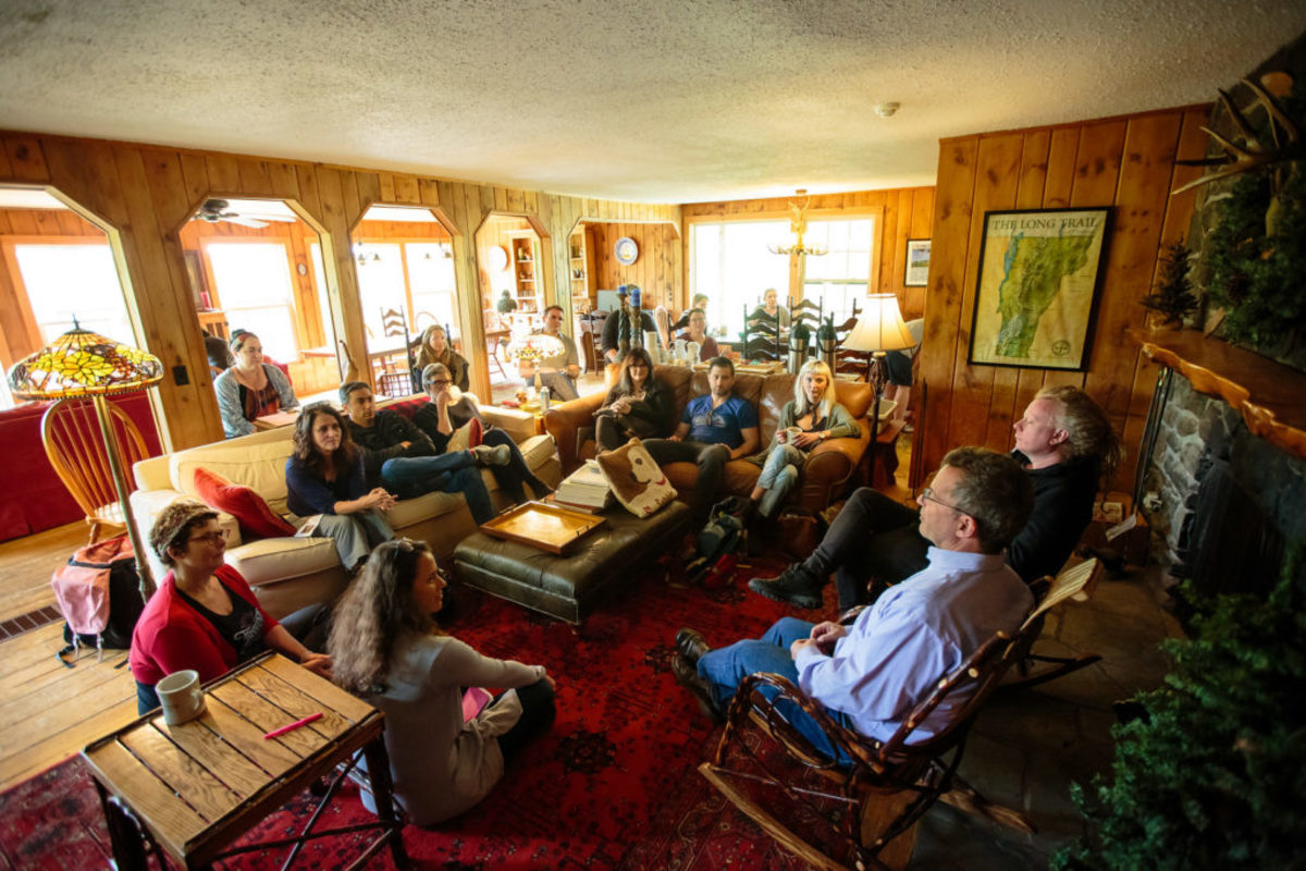 2017 Writers' Retreat Participants Talk with David Rocchio and David Pope