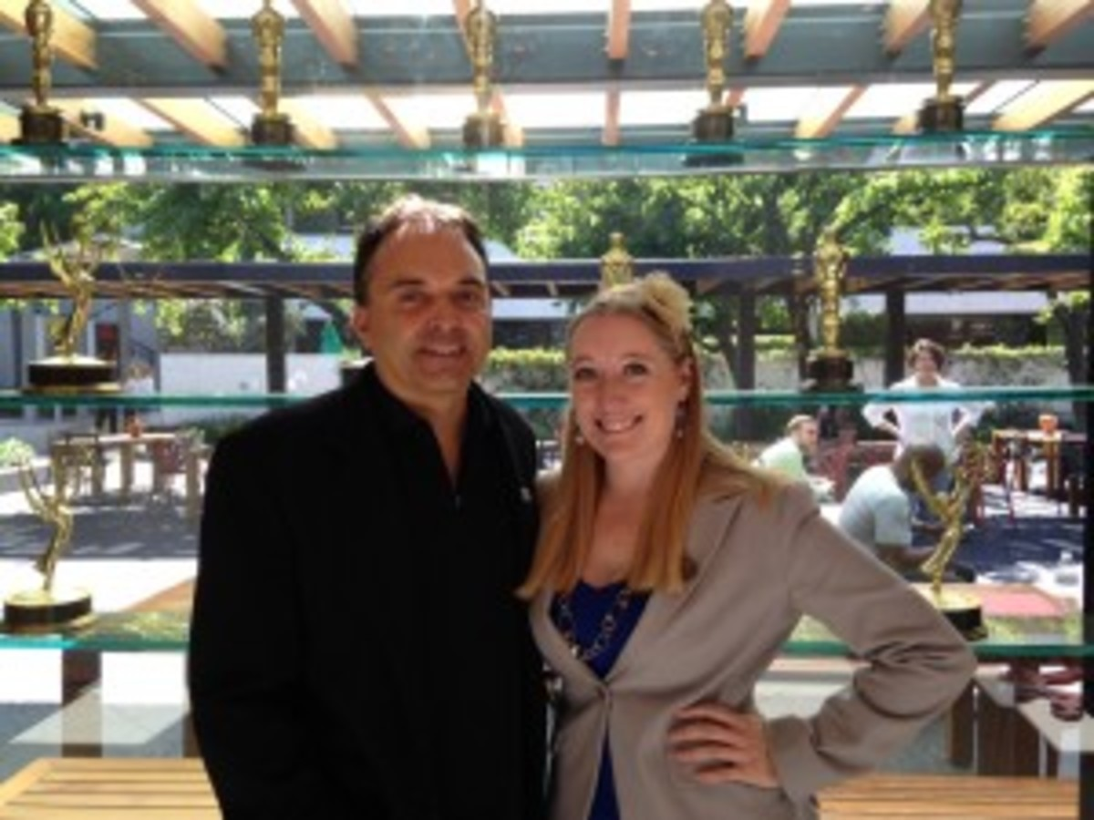 Kimberly Tompkins with Steve Dunning At Universal for Capital Fund Screenplay Competition event'