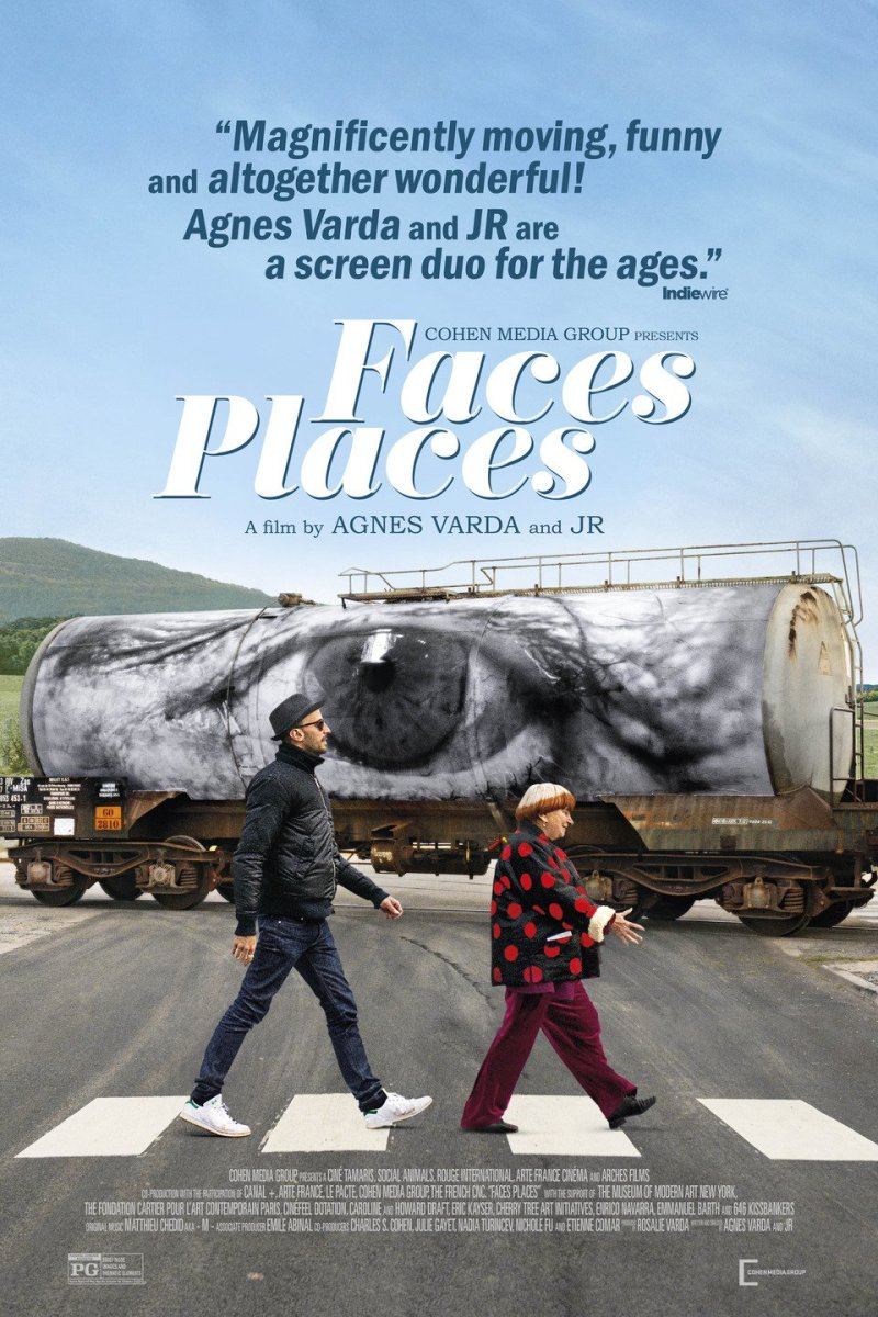 Agnès Varda (right) and JR (left) in Faces Places directed by Agnès Varda and JR.