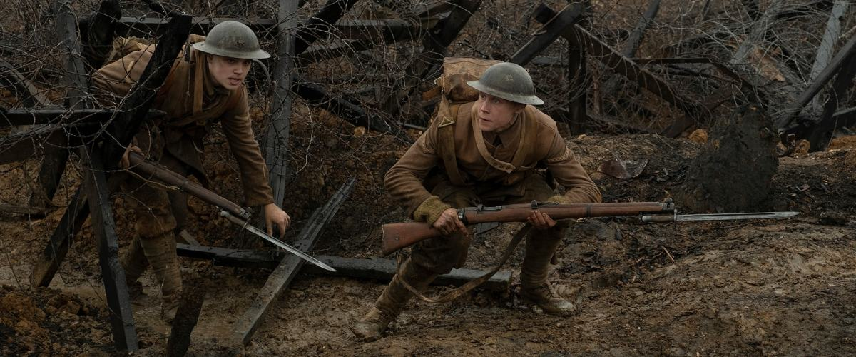 Lance Corporals Blake (Dean-Charles Chapman), left, and Schofield (George MacKay) battle impossible odds and an illogical premise during their memorable single-shot journey.