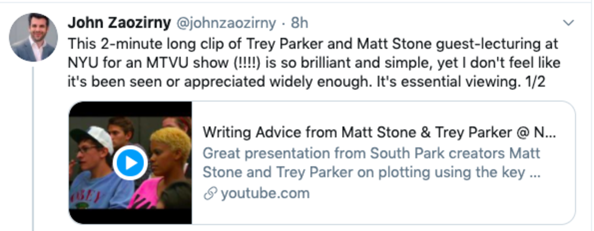 john twitter screenwriting tip 1