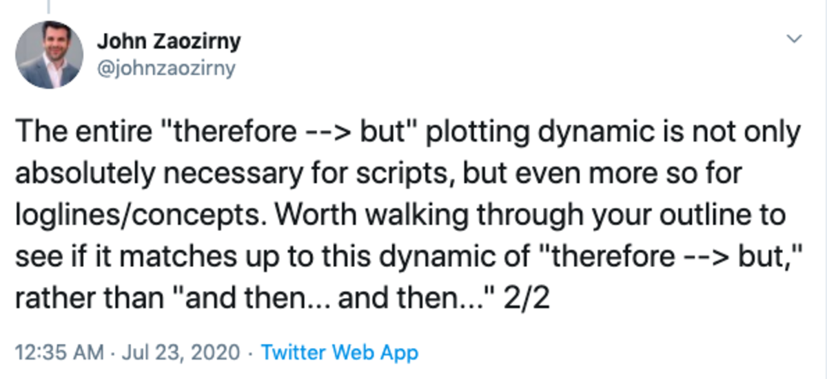 john twitter screenwriting tip 2