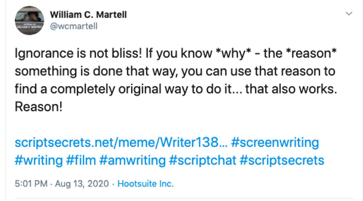 bill martell tweet screenwriting rules