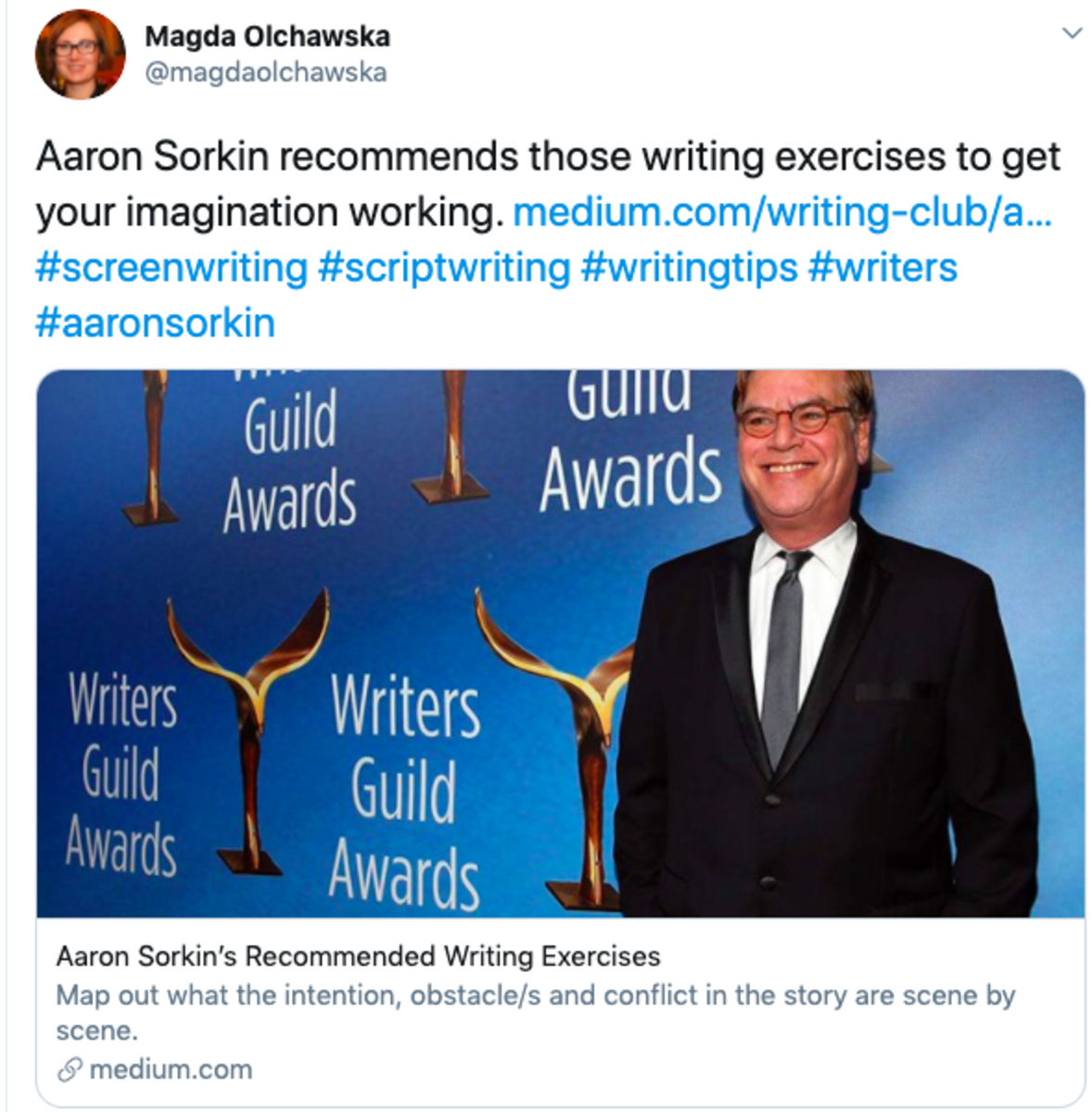 twitter screenwriting tips aaron sorkin writing exercises