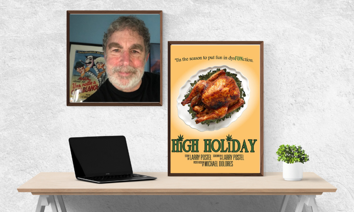 Larry Postel and the movie poster for his upcoming film, High Holiday, starring Tom Arnold