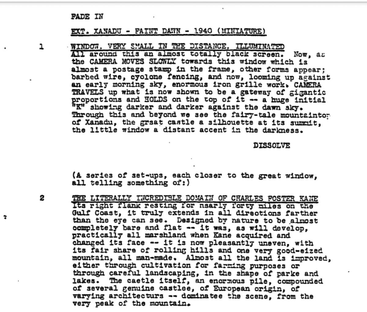 'Citizen Kane', page 1.