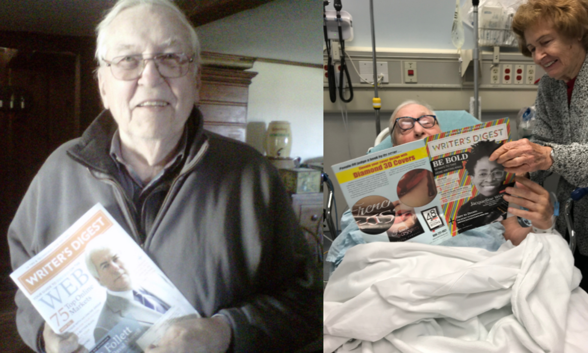 On left, my proud Dad in 2011 when my Twitter article was published. On right, reading the magazine masthead the first time I was listed as Senior Editor at WD, just a few months before he passed. I'm deeply grateful I was able to share that moment with him.