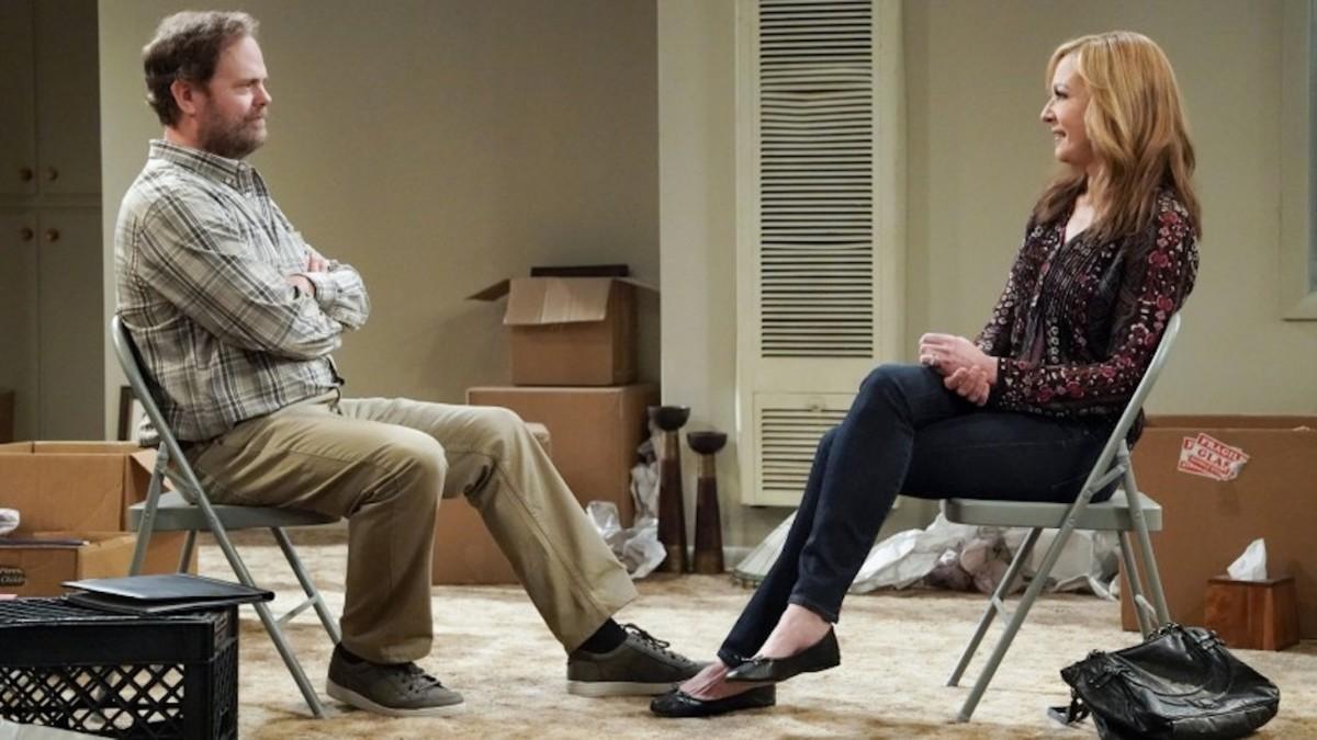 "Bonnie's (Allison Janney) therapist (Rainn Wilson) needs help in an episode of ""Mom"" on CBS."