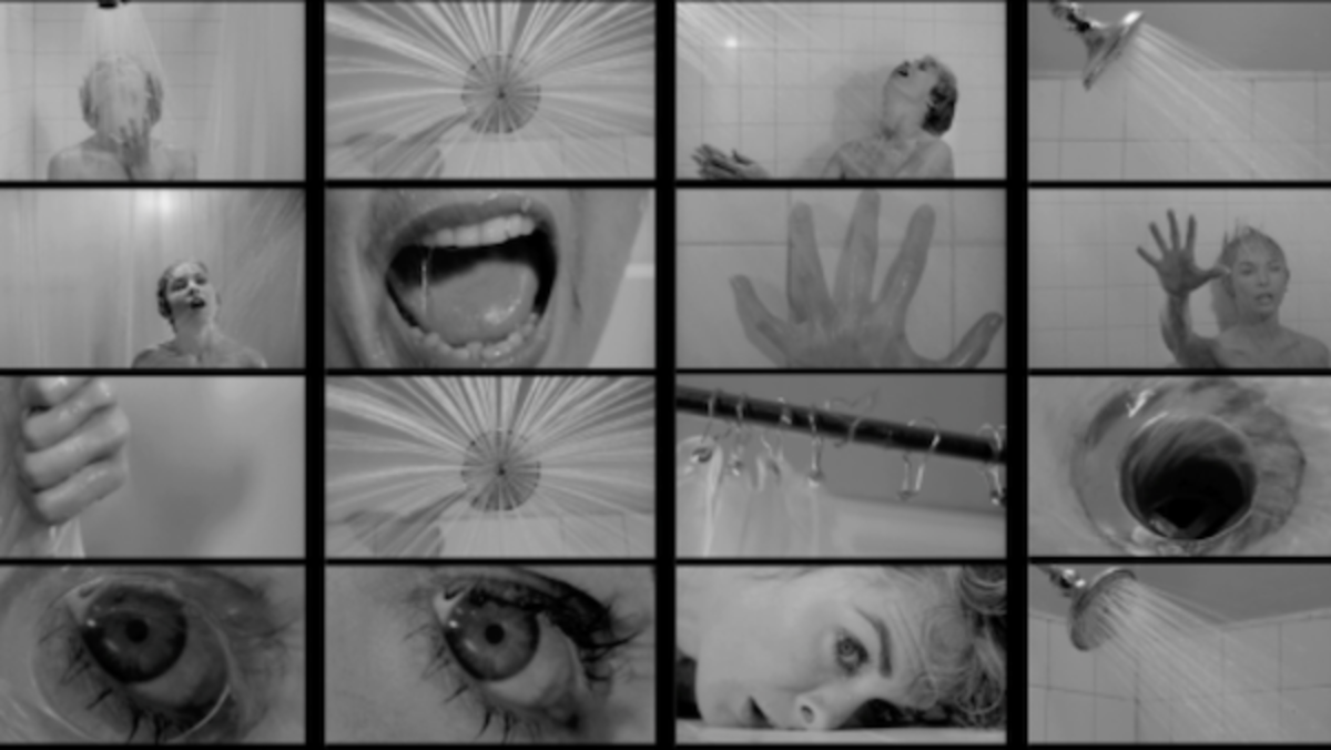 Alfred Hitchcock (director) in collaboration with Saul Bass (pictorial consultant), frames from the shower scene in Psycho (1960, directed by Alfred Hitchcock). Courtesy Academy of Motion Picture Arts and Sciences.